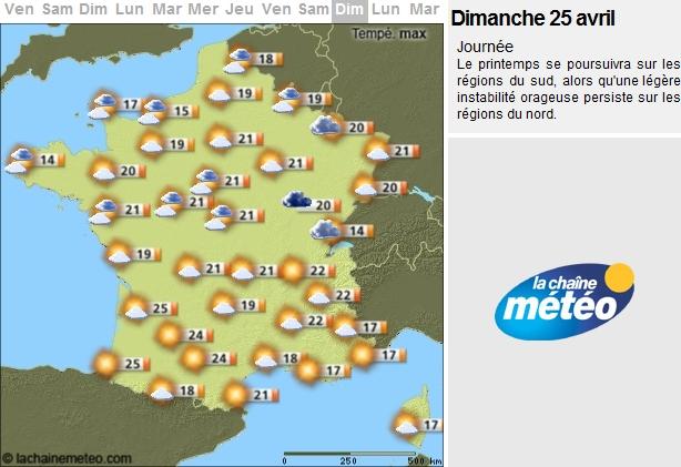 Soyez rassurés ! La météo sera de la partie le 25 Avril 2010 !